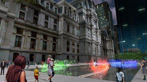 Rendering dell'istallazione a Piazza Dilworth, Philadelphia, di Janet Echelman