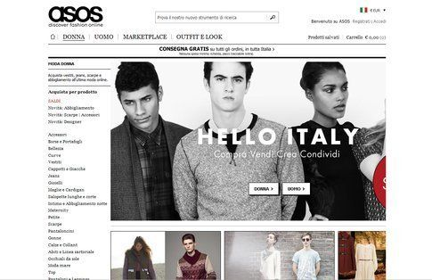 Homepage di Asos.it
