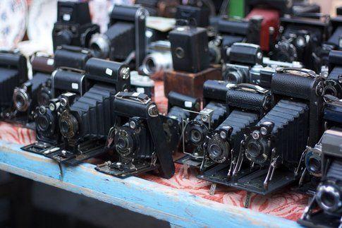 Vecchie macchine fotografiche in vendita a Portobello - Foto di Simona Forti
