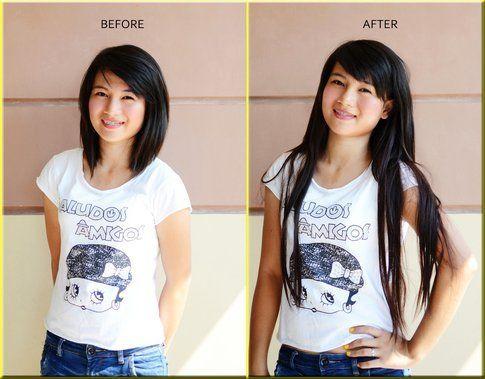 Prima e dopo di una ragazza che ha provato le extension temporanee