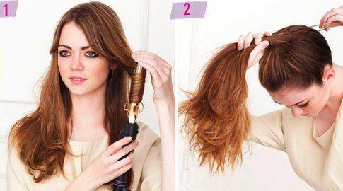 Step 1 e 2: arriccia i capelli e fai una coda