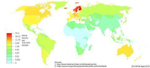 Mappa della distribuzione di band heavy metal nel mondo
