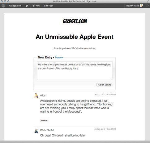 Wordpress - Liveblog - Posta da front-end