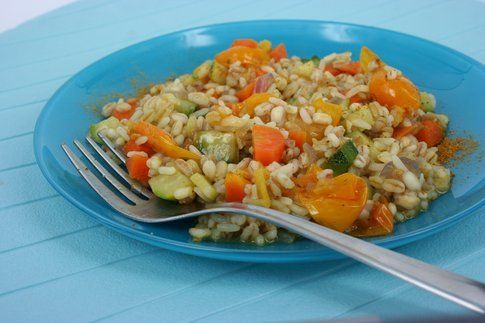 mix di 5 cereali con verdure al curry