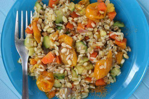 mix di 5 cereali con verdure al curry
