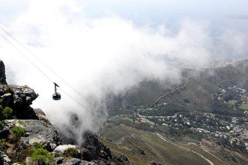 Salita a Table Mountain in funivia
