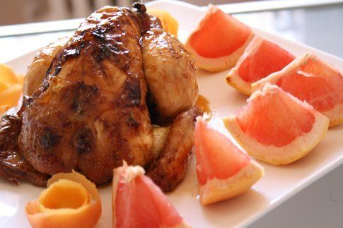 Pollo laccato al pompelmo realizzato e fotografato da La Tana del Coniglio