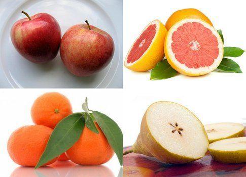 quattro tipi di frutti di stagione, dicembre