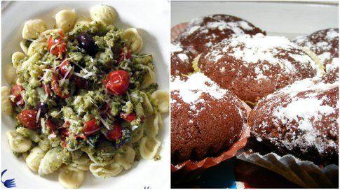 due piatti preparati da lei: mini muffin al cioccolato piccante e la mia ricetta delle orecchiette con broccoletti
