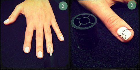 Step 2 e 3: usa lo smalto trasparente e applica il filo