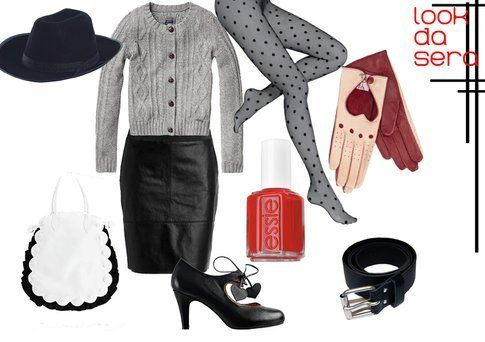 outfit con gonna in pelle