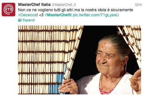 Tweet di @masterchef_it e @stanzaselvaggia su Cececca