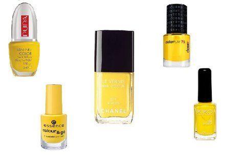 Assortimento di smalti di colore giallo