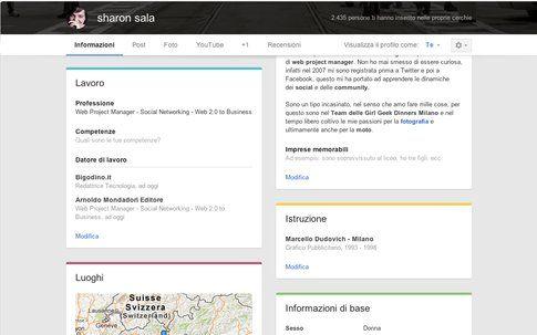 Google+ Profilo box informazioni