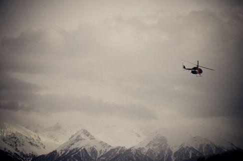 Elicottero Red Bull in partenza a session conclusa