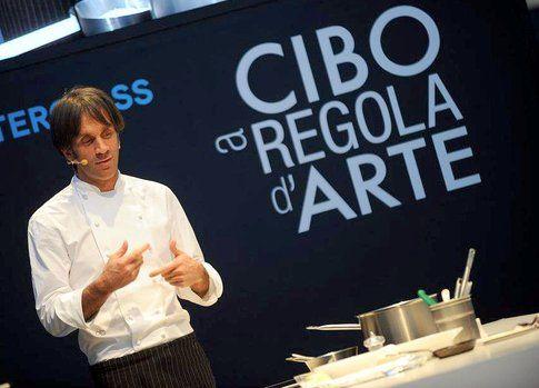Masterclass con Davide Oldani durante Cibo a Regola d'Arte (Credits photo Cibo a regola d'arte)