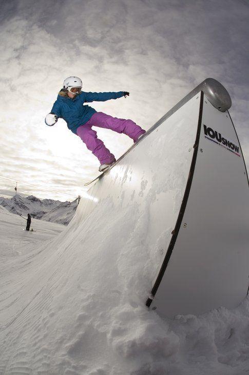 Julia nello snowpark di Davos. Foto Eleonora Raggi