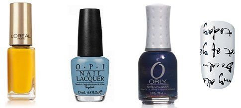 L'Oréal Exotic Canaries 302, Opi can't find my czechbook, Essie stickers love to love you, Orly High on Hope
