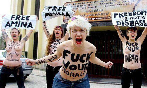 Attiviste Femen in Belgio per il Topless Jihad - Foto sito ufficiale Femen