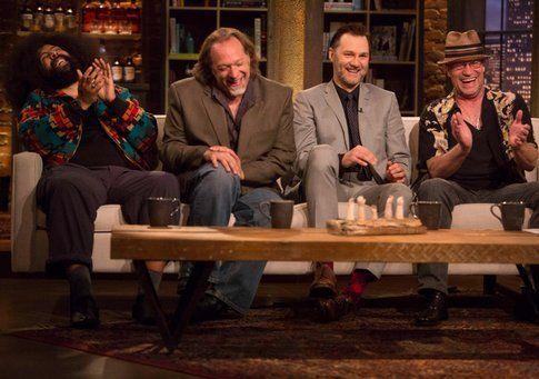 Reggie Watts, Greg Nicotero, (co-produttore esecutivo) e David Morrissey (Il governatore) Michael Rooker (Merle Dixon)- Foto Amc