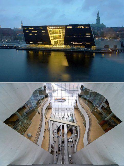 Biblioteca reale danese (anche detta Diamante nero) a Copenhagen, di Schmidt