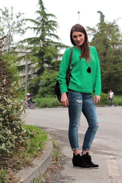 Il mio Outfit: Boyfriend Jeans e Sneakers con Zeppa