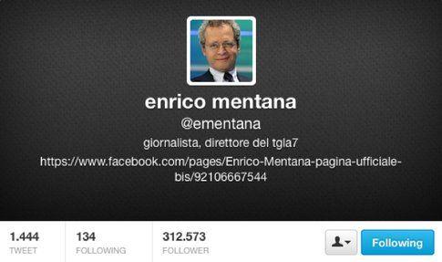 L'account Twitter di Enrico Mentana, attualmente chiuso