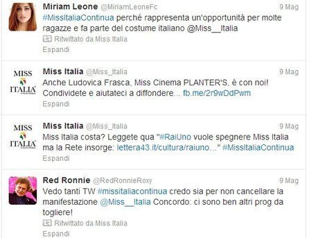 La campagna #MissItaliaContinua su twitter - dall'account ufficiale twitter di Miss Italia