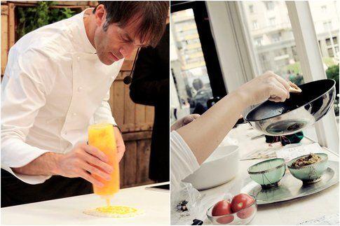 Lo chef Davide Oldani all'opera e altri momenti di live cooking