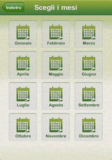La schermata dei mesi nell'applicazione NaturMia