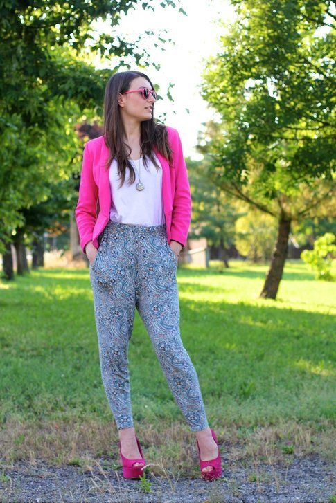 Il mio outfit: Fucsia e Pantaloni Pajama Style