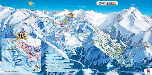 La mappa delle piste di 2 Alpes