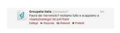 Il tweet di Groupalia sul terremoto