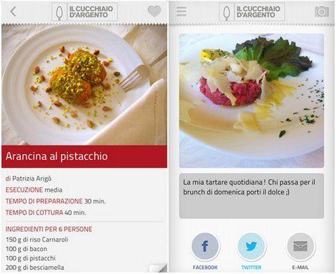 schermate della app con ricette