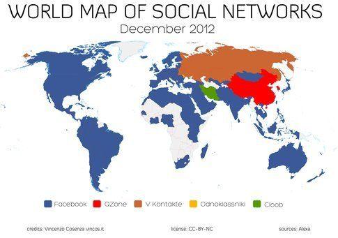 Mappa della diffusione dei  social network. Fonte: vincos.it
