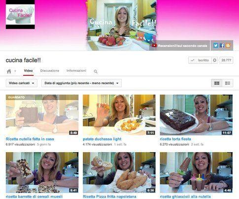 """La pagina Youtube per """"Cucina Facile"""""""