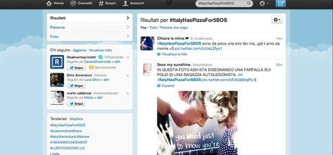 Screenshot del trending topic #ItalyHasPizzaFor5Sos