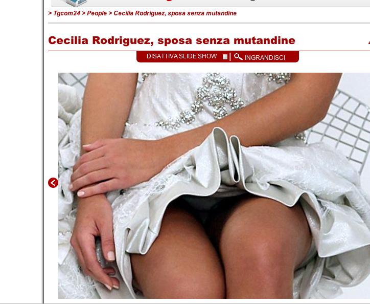 Cecilia Rodriguez in abito da sposa, senza mutandine