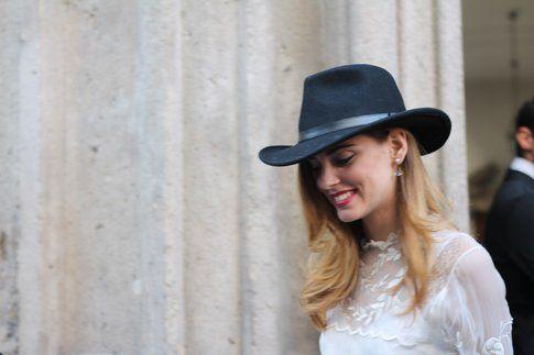 Chiara Ferragni dopo la sfilata da Fay