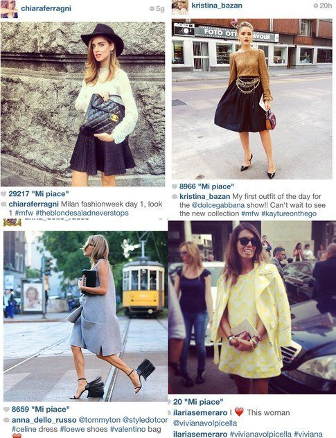 Mfw : cosa si scopre attraverso Instagram - Fonte: @chiaraferragni @kristina_bazan @annadellorusso @ilariasemeraro su Instagram