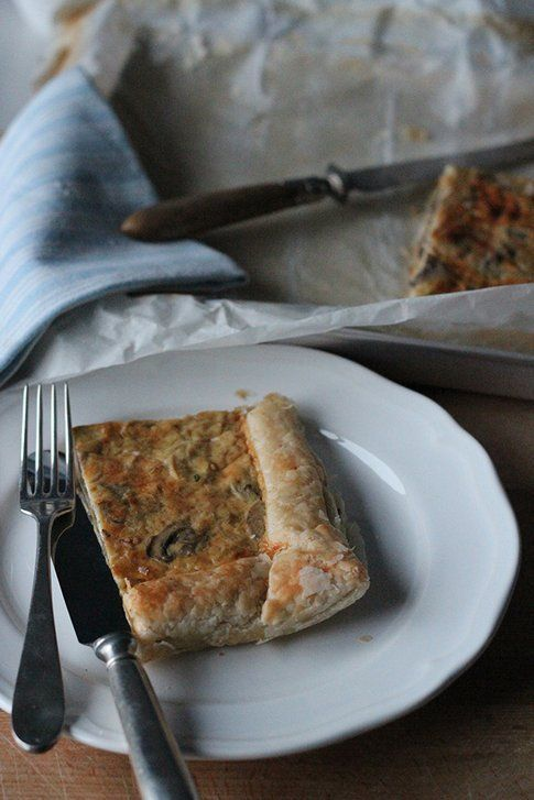 Torta salata ai porri e funghi