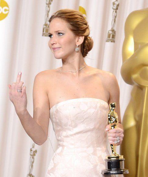 Jennifer Lawrence alla c.stampa Oscar 2013 - foto Sonicnation.ca