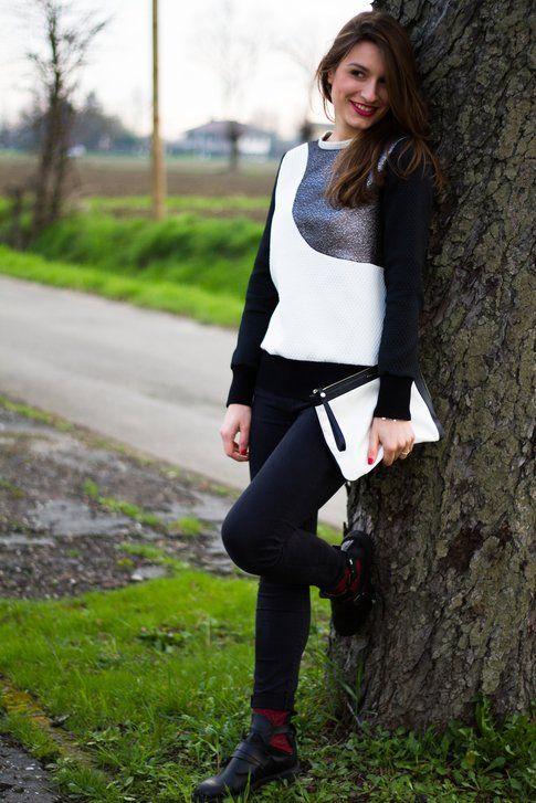 Outfit da giorno: Bianco e Nero con dettagli Glitter!