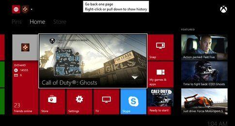 Esempio di dashboard di Xbox One... (fonte Multiplayer.it)