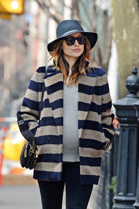 Olivia Wilde indossa il Trudi stripy coat di Max Mara FW 2013