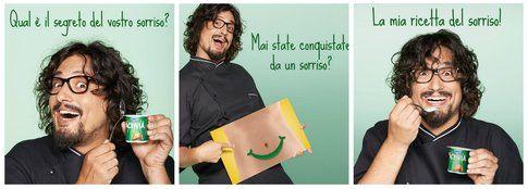 Alessandro Borghese - foto Facebook Activia Danone, composit Bigodino