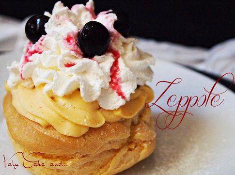 Zeppole con crema e amarene