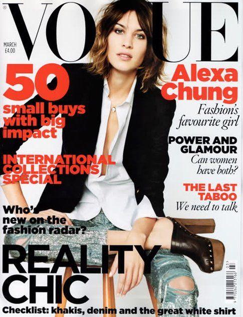 Copertina di Vouge America con Alexa Chung in Sabot- Fonte: Vogue.it