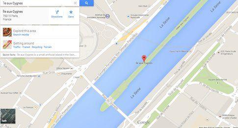L'Île aux Cygnes - Google Earth