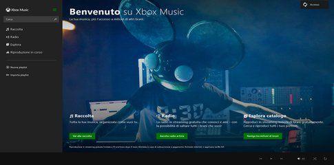 Pagina di apertura di Xbox Music su pc